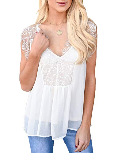 - LEANI Women's Lace Cami Tank Top Sexy Sleeveless V Neck Semi Sheer Mesh Blouse Tunic (White, Medium)