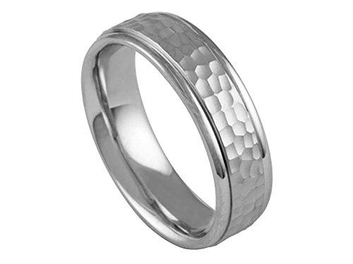 625 Wedding Bands Ring - Men's Platinum 950 Hammer Finish 6.5mm Comfort Fit Wedding Band Ring size 6.25