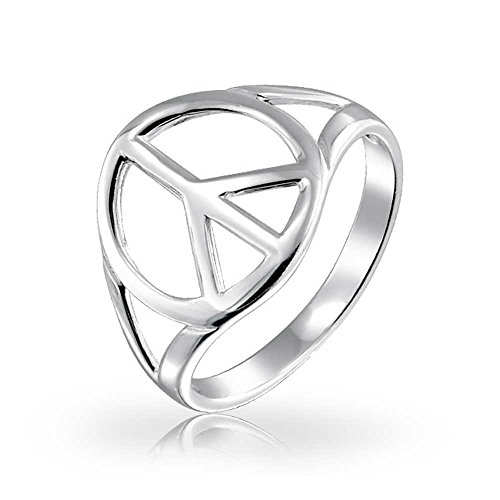 Bling Jewelry Peace Sign Open Symbol Sterling Silver Ring