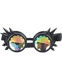 OMG_Shop Chrome Spike Padded Kaleidoscope Effect Goggles Party Glow LED Steampunk (Black)