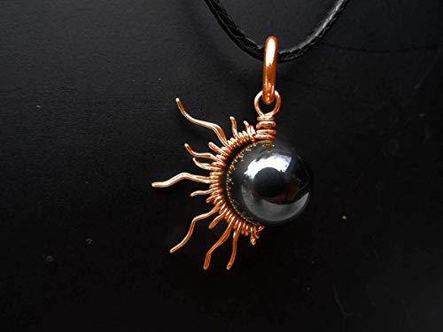 Copper 1/2 Sun Moon Eclipse Pendant 0r Bracelet Charm W/Hematite Bead