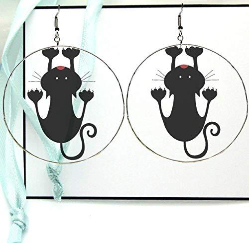 Hanging Clinging Cat Silhouette Dangle Drop Hoop Earrings, Digital Clipart Printed Resin Image with Silver Ear Hooks