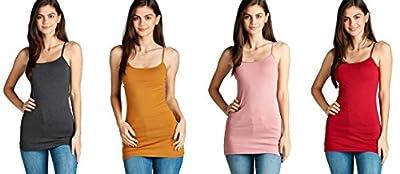 4 Pack Active Basic Women's Basic Tank Top (Charcoal Grey, Dark Mustard, Dark Pink, Dark Red)