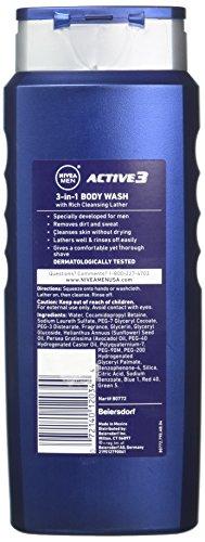 NIVEA FOR MEN Active 3 Body Wash 16.90 oz Pack of 6
