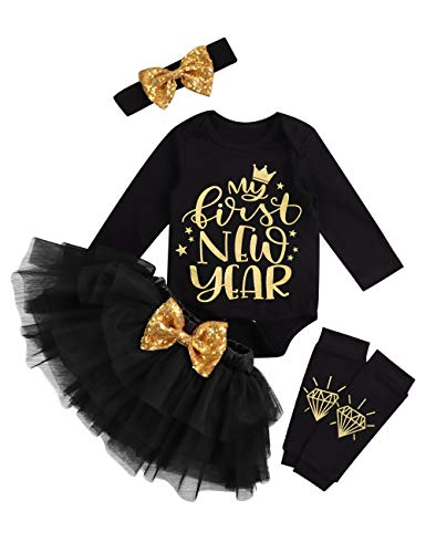 New Years Outfit Baby Girls Bodysuit+Ruffle Tulle Skirt+Sequins Bow Headband+Leg Warmers Dress Clothes 4Pcs Set