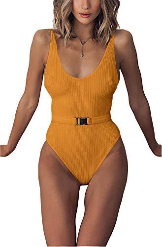 (FEIYOUNG Sexy Womens Monokini Scoop Neck One Piece Backless Cheeky Swimwear Semi Thong Bikini with Belt Yellow)