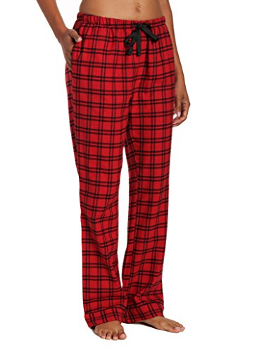 Noble Mount Women's Cotton Lightweight Flannel Lounge Pants - Checks Red-Black - ()