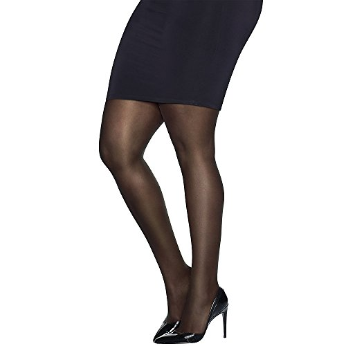 Just My Size Womens Ultra-Sheer Run-Resistant Pantyhose, Q81104, 1X/2X, Black