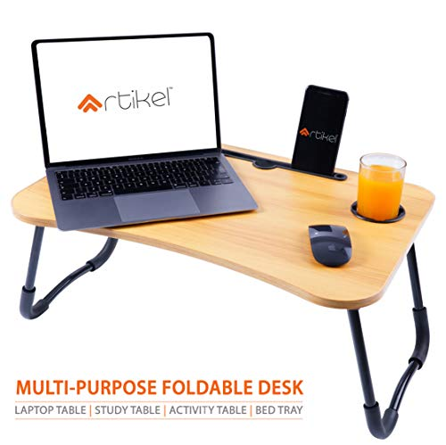 Artikel Multi-Purpose Laptop Table with Dock Stand | Study Table | Bed Table | Foldable and Portable | Rounded Edges | Anti-Roll & Non-Slip Legs | Engineered Wood | Quad Series | Ebony Wood