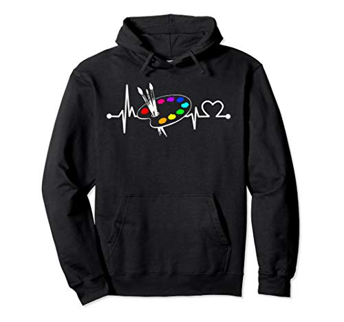 Paint Brush With Palette Heartbeat Funny Artist/Painter/Art  Pullover Hoodie