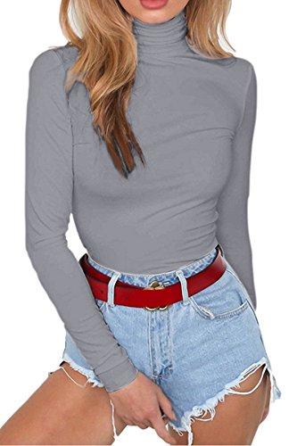 Laucote Womens Fleece Bodycon Jumpsuit Turtleneck Long Sleeve Overalls Bodysuit Gray L (Bodysuit Comfy)