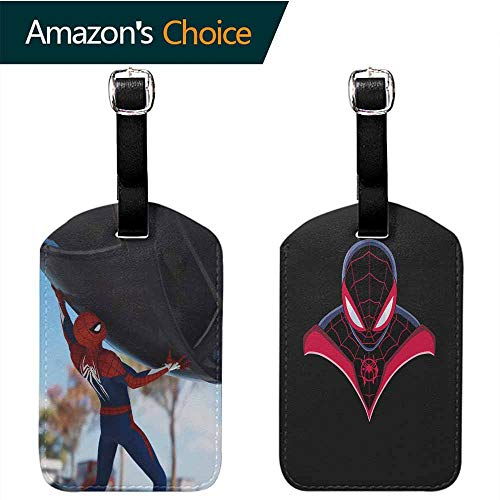(OriginalSun 2X PU Leather Card Holder Luggage Tags Spiderman Address Tags)