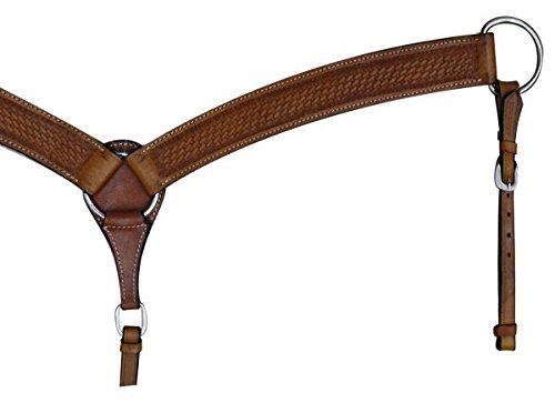 Showman Double Stitched Leather Breast Collar with Basketweave Tooling (Medium Oil)