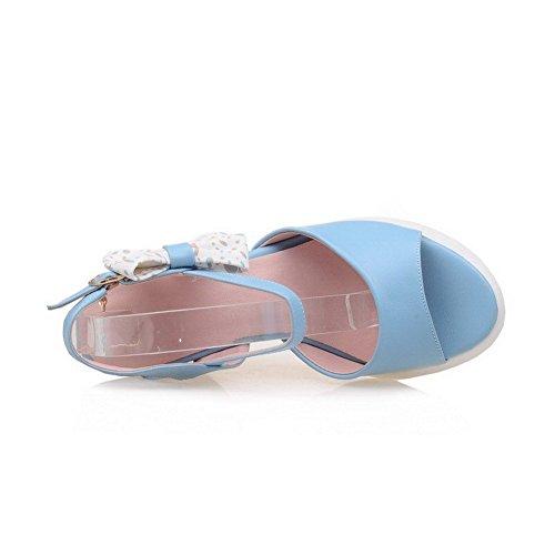 AllhqFashion Mujeres Hebilla Plataforma Microfibra Colores Surtidos Puntera Abierta Sandalia Azul