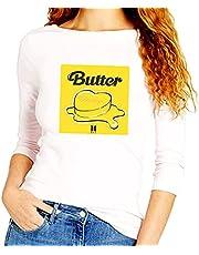 تيشرت بطباعة كلمة « Butter» و «BTS» وكم طويل من سيلو