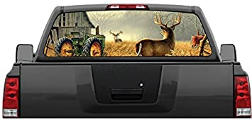 Amazoncom Whitetail Buck Deer Farm Scene Rear Window Graphic - Rear window hunting decals for trucksamazoncom truck suv whitetail deer hunting rear window graphic