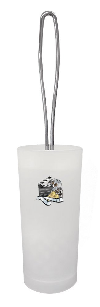 The Furniture Cove White Frosted Toilet Brush and Holder Featuring Your Favorite Novelty Theme Decal (Movie Reel)