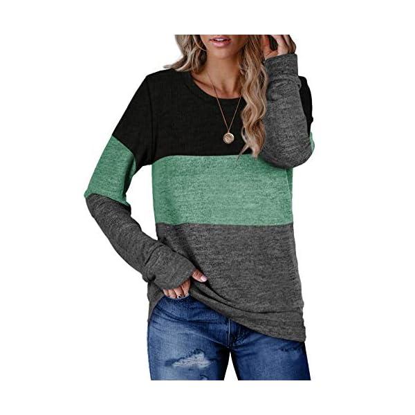Color block casual crew neck pullover sweater