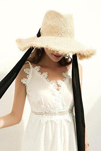 Generic ns same paragraph veil bow burrs raffia straw hat cap women girls lady summer sun visor hat cap Korean Beautiful -