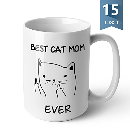 Sweese 6206 Porcelain Large Funny Coffee Mug - Best Cat Mom Ever - 15 Ounce for Tea, Cocoa, Gifts for Cat Lovers, Valentines Day Gift for Her, White (And Coffee Cup Giant Saucer)