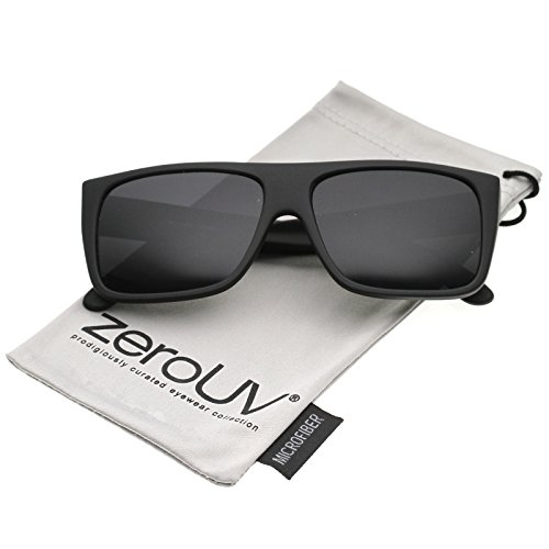 zeroUV - Men's Rubberized Flat Top Wide Temple Square Sunglasses 57mm ()