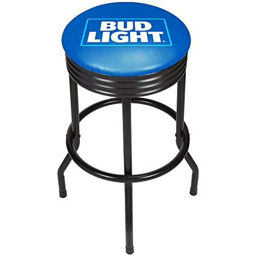 Trademark Gameroom AB1006-BL Bud Light Black Ribbed Bar Stool-Black by Trademark Gameroom