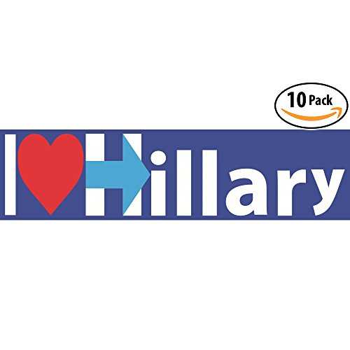 I Heart Hillary Bumper Sticker 10 Pack for the 2016 Presidential Election. 9in X 3in Decal for Cars, Laptops, Books, & Luggage. Help Hilary Defeat Trump & Support the Candidate Who Will Truly Lead (Presidential Campaign Car)