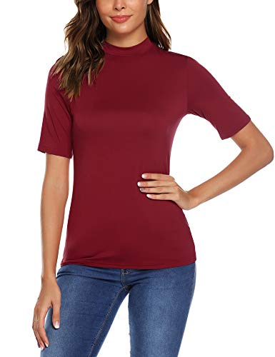 URRU Women's Short Sleeve Slim Fit Turtleneck Mock Soft T-Shirt Tank Tops Basic Stretchy Pullover Wine Red L