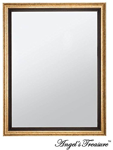 Vintage Bronze Framed Wall Mounted Mirror Rectangular 17 X 13 Elegant Classic Antique Look For
