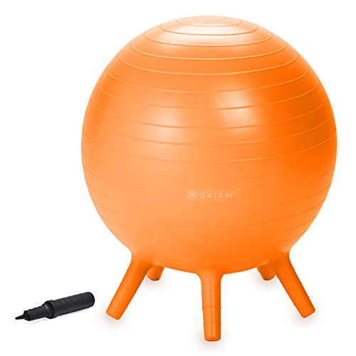 Gaiam Kids Stay-N-Play Children's Balance Ball - Flexible School Chair, Active Classroom Desk Seating with Stay-Put Stability Legs, Includes Air Pump, Orange, Junior (52cm)