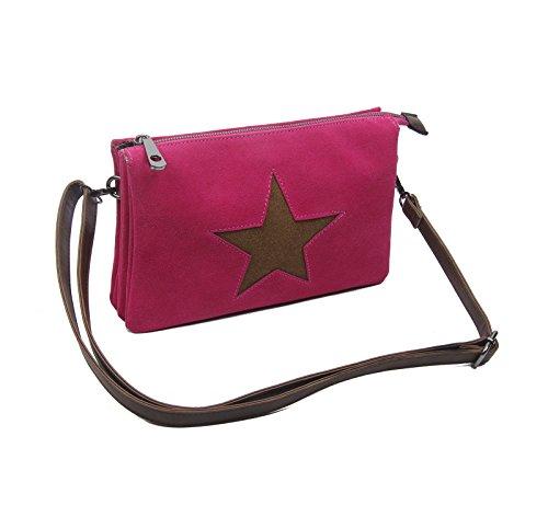 Estrella Bolsa De La Lona Bolsa Bandolera De Dama Bolsa De Joyas Embrague Bolsa De Tela Cuero Estrella - caqui con estrella 3x compartimentos Fucsia con estrella 3x compartimentos