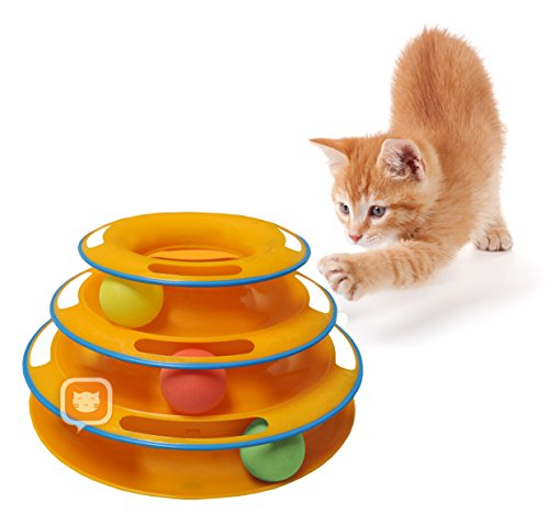 Purrfect Feline Titan's Tower – New Safer Bar Design, Interactive Cat Ball Toy, Exerciser Game, Teaser, Anti-Slip, Active Healthy Lifestyle, Suitable for Multiple Cats