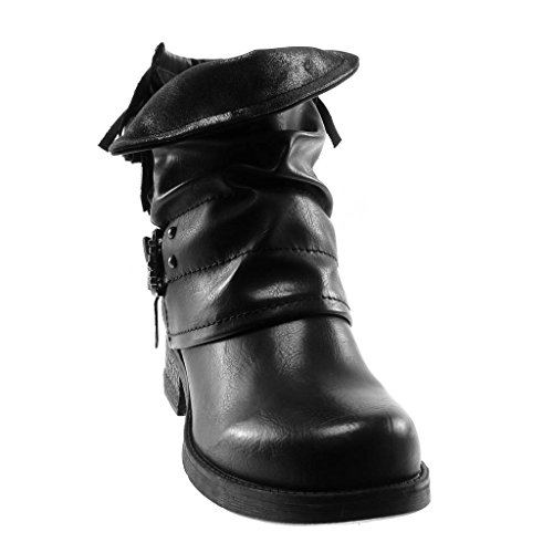 Classic Schuhe Fransen String Tanga Stil cm Schleife Vintage Blockabsatz Stiefeletten 3 5 Damen Schwarz high Biker Angkorly Heel qIw5Ffc