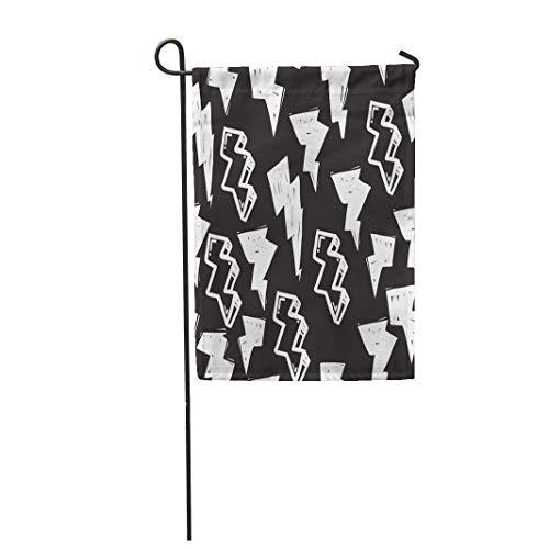 Semtomn Garden Flag Tags Black and White Graffiti in Hip Hop Street 12