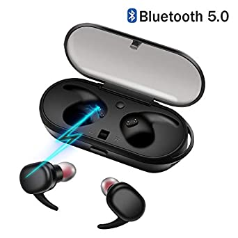 Wireless Headphones, Upgraded Bluetooth 5.0 Bluetooth Earphones Waterproof Wireless Earbuds with Portable Charger Built-in Mic Deep Bass Noise Cancelling HiFi Stereo Sound