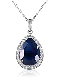 5.26 CTW 14k Solid White Gold Necklace with Natural Diamonds and Pear Shaped Sapphire