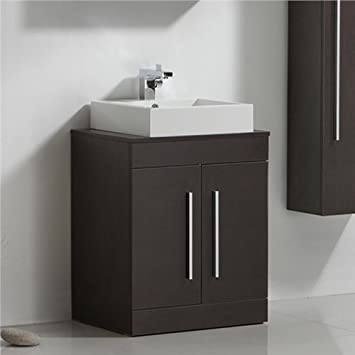 Dark Wood Bathroom Furniture Basin Sink Vanity Unit iBathUK
