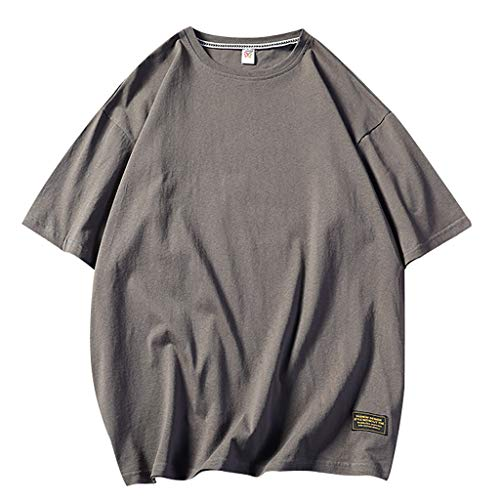 Men's Short Sleeve Casual Cotton Henley T-Shirt with Solid Color Loose Round Neck Short Sleeve T-Shirt Top Dark Gray Abercrombie Fitch Mens Polo