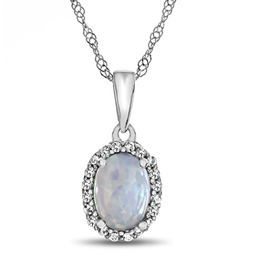 Finejewelers Solid 10k White Gold 7x5mm Oval Center Stone with White Topaz accent stones Halo Pendant Necklace