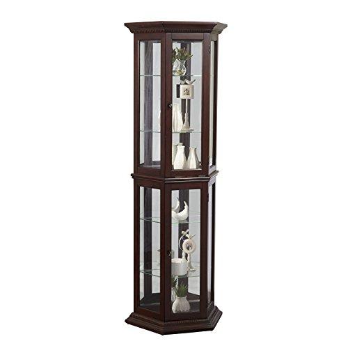 Pulaski Angled Cherry Curio Cabinet, 24'' x 11'' x 70'' by Pulaski