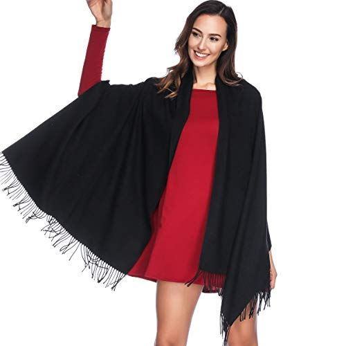 Ruffle Bed Jacket - HOYAYO Cashmere Pashmina Shawls and Wraps Scarf(Black)