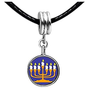 Chicforest Silver Plated Religion Menorah Photo Black Crystal Flower dangle Charm Beads Fits Pandora Bracelets