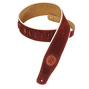 Levy's Leathers MSS3CP-BRG Suede-Leather Guitar Strap with Cream Piping,Burgundy