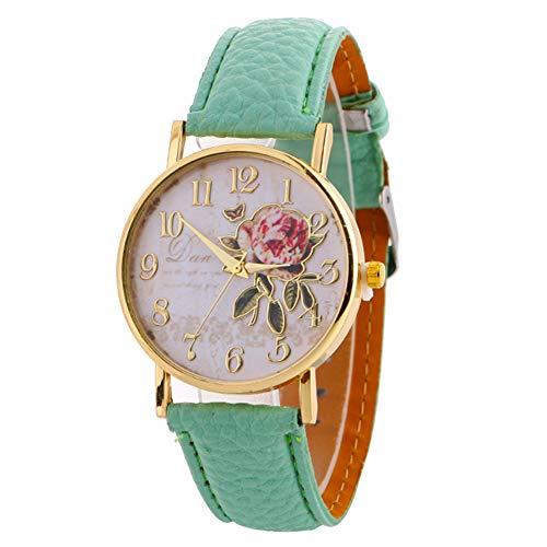 lightclub Women Arabic Number Rose Flower Round Dial Faux Leather Band Quartz Wrist Watch - Light Blue Watch for Women Men
