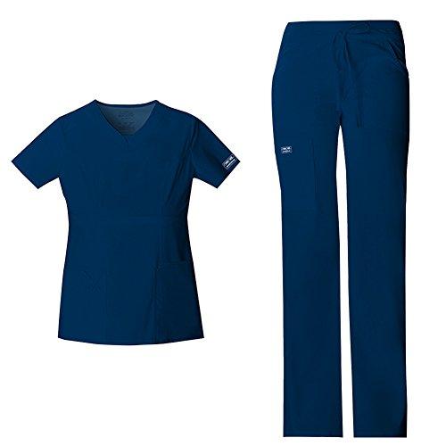 Cherokee Women's Workwear Core Stretch Junior Fit V-Neck Scrub Top 24703 & Junior Fit Low-Rise Drawstring Cargo Scrub Pants 24001 Medical Scrub Set (Navy - XX-Small/XXSmall Petite) (Medical Scrubs Junior)