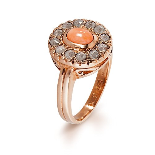 14K Rose Gold Ring Diana Handmade with Oval Coral and Rose Cut Diamonds, Sizes US - Ring 14k Diana