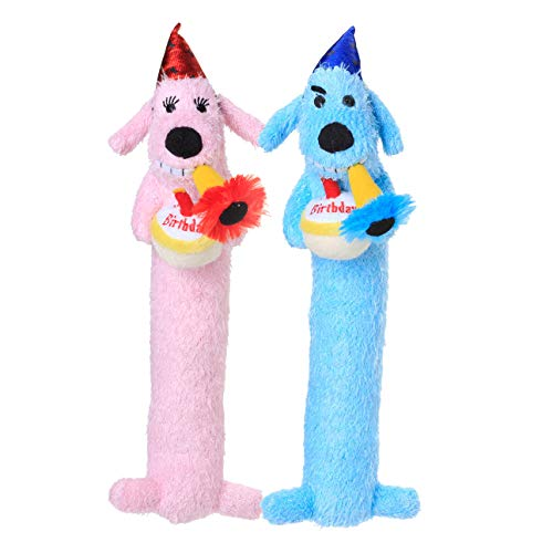 Multipet's 12-Inch Happy Birthday Loofa Dog Toy, (Colors May Vary)