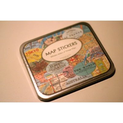 Cavallini Vintage Map Stickers in a Tin