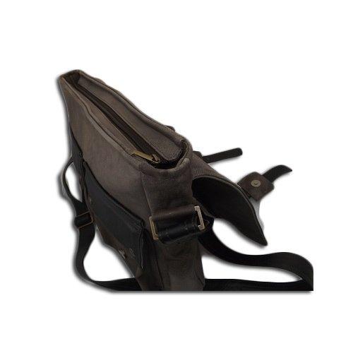 Borsello borsa messenger a tracolla in pelle uomo 38Lx30Hx6P cm Mod staff 014 Grigio e nero