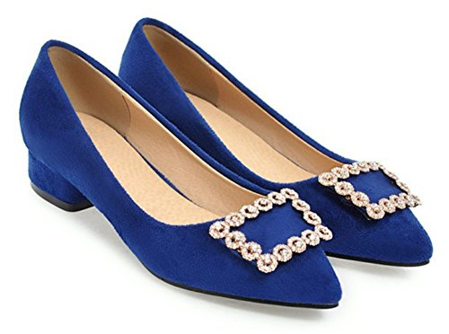 Aisun Womens Comfort Low Cut Rhinestone Pointed Toe Low Chunky Heel Dressy Slip On Pumps Shoes Royal Blue TxvXbeH
